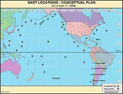 Planned locations of 39 DART™-II buoy stations.