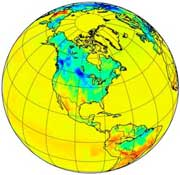 Globe showing carbon sources over North and South America