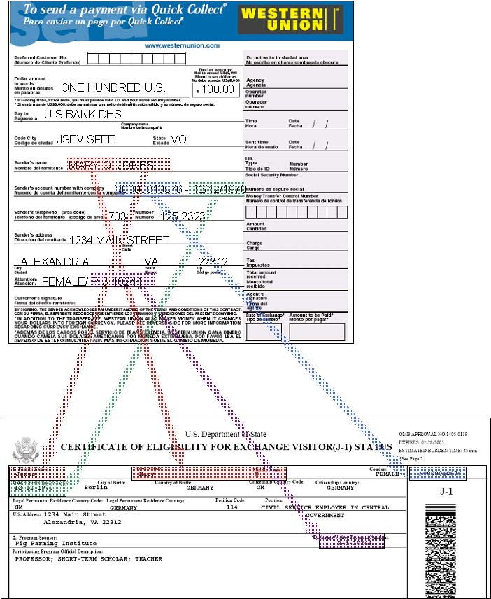 Western Union Quick Pay for U.S. J Visa Example Form