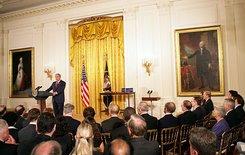 President Bush speaks at last year's White House medal ceremony
