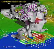 A modelled three-dimensional view of Hurricane Floyd