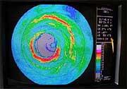 On-board Doppler radar image of the eye of Hurricane Isabel