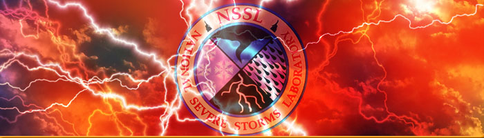 collage featuring lightning, nssl logo and clouds