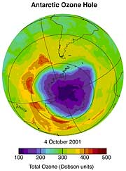 Satellite-view of Antarctica showing a large blue ozone hole.