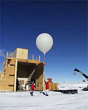Scientists prepare to launch a balloon-borne ozonesonde from a station in the Antarctic.