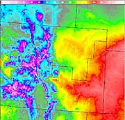 A surface temperature image taken from the GFE shows the influence the local terrain has on the surface temperature.