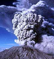 A large ash plume erupts froma volcano