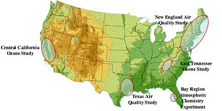 US map showing locations of air quality studies