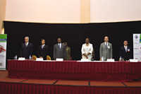 From left to right: Dr. Michel Kazatchkine, Executive Director of the Global Fund to Fight AIDS, Tuberculosis and Malaria; Ambassador Mark Dybul, Coordinator of the U.S. President's Emergency Plan for AIDS Relief (PEPFAR); H.E. President Yoweri Kaguta Museveni, President of the Republic of Uganda; Mrs. Janet Museveni, First Lady of the Republic of Uganda; Dr. Peter Piot, UNAIDS Executive Director; and Dr. Kevin Moody, International Coordinator and CEO of the Global Network of People Living with HIV/AIDS (GNP+). Photo by Arne Clausen.