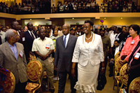H.E. President Yoweri Kaguta Museveni, President of the Republic of Uganda, and Mrs. Janet Museveni, First Lady of the Republic of Uganda, arrive at the opening ceremony of the 2008 HIV/AIDS Implementers' Meeting in Kampala. Photo by Arne Clausen.