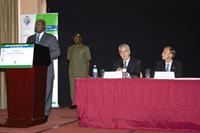 H.E. President Yoweri Kaguta Museveni, President of the Republic of Uganda, declares the 2008 HIV/AIDS Implementers' Meeting open. Photo by Arne Clausen.
