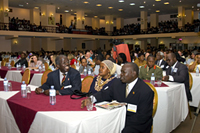 More than 1,700 HIV/AIDS Implementers from Uganda and throughout the world participated in the 2008 HIV/AIDS Implementers' Meeting. More than 70 countries were represented at the meeting, a testament to the global partnerships to fight the HIV/AIDS pandemic, and a reflection of the conference theme, 'Scaling Up Through Partnerships: Overcoming Obstacles to Implementation.' Photo by Arne Clausen.