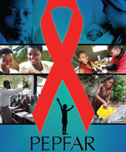 Poster: Collection of photos of people with red AIDS ribbon superimposed in the center and the acronym PEPFAR below the ribbon