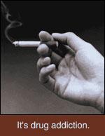 Smoking - It's drug addiction - hand holding cigarette