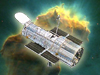 Graphic of Hubble Telescope on Eagle Nebula background