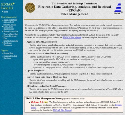 screen shot from EDGAR Filer Management web site