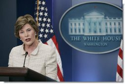 Mrs Laura Bush addresses reporters in the James S. Brady Press Briefing Room Monday, May 5, 2008 at the White House, urging the Burmese government to accept the humanitarian assistance being offered by the United States to the people of Burma in the aftermath of the destruction caused by Cyclone Nargis. White House photo by Patrick Tierney