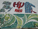 The PEPFAR-supported John Muafangejo HIV/AIDS Mural Painting Project was conducted in Windhoek, Namibia from August 20-25, 2007. The mural was painted at Dawid Bezuidenhout High School in Khomasdahl, a suburb of Windhoek.  Photo by Namibia PEPFAR team