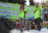 The Unique Sisters, a popular Tanzanian hip hop group, deliver messages about HIV prevention through their songs.  They were one of 16 local groups to perform during the concert.