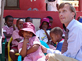 Ambassador Dybul interacts with children at St. Bridget's Preschool in Tonota, Botswana. St Bridget's provides children with physical, emotional, spiritual and intellectual development through the creation of an enabling environment.