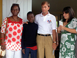 U.S. Global AIDS Coordinator Mark Dybul meets with a 14-year-old member of N'Zrama, an association of orphans and vulnerable children and youth in Bouake, during a two-day visit to Côte d'Ivoire. They are accompanied by Ivorian National HIV/AIDS Care and Treatment Program Director Dr. Virginie Traore, left, and PEPFAR Country Coordinator Jyoti Schlesinger.