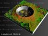 Artist concept of lunar crater with safe landing sites highlighted