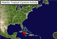 Map depicting Atlantic Tropical Cyclone Activity. Click here for larger image.