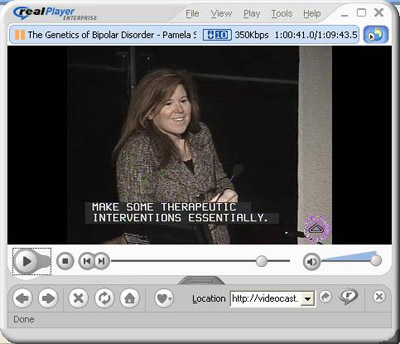 Screen capture of Dr. Sklar discussing her recent findings on the genetics of schizophrenia and bipolar disorder.