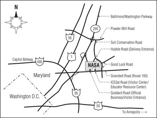 Directional map to the Goddard Visitor Center in Greenbelt, MD