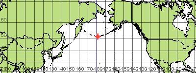85 miles/137 Km SW of Adak, Alaska