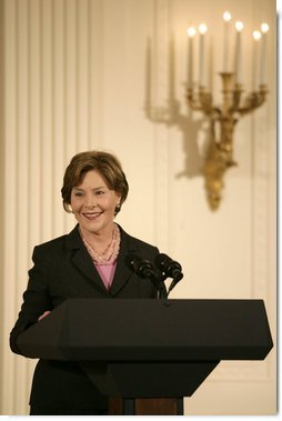 """Mrs. Laura Bush delivers remarks during a ceremony for the Institute of Museum and Library Services in the East Room at the White House Monday, January 14, 2008. """"Our country is fortunate to have so many outstanding museums and libraries."""" Mrs. Bush said during her remarks, """"This year, we've expanded the IMLS awards to recognize ten institutions -- all with impressive collections, and a strong sense of responsibility to the communities that they serve."""" The Institute of Museum and Library Services National Awards for Museum and Library Service honor outstanding museums and libraries that demonstrate an ongoing institutional commitment to public service. It is the nation's highest honor for excellence in public service provided by these institutions. White House photo by Shealah Craighead"""