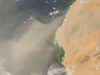 A dust plume from Northern Africa moves over the Atlantic