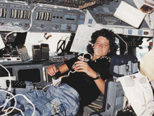 Astronaut Sally Ride in Space Shuttle Challenger's cabin during STS-7.