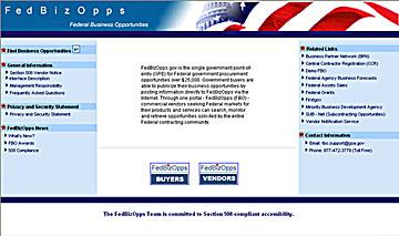 screenshot of FedBizOpps website