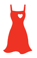 Illustration of the Red Dress logo, which serves as the national symbol for women and heart disease awareness