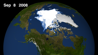 Arctic sea ice still for September 9, 2008