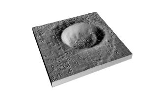 An artist rendition showing topography of a lunar crater, as the LOLA instrument will eventually generate.