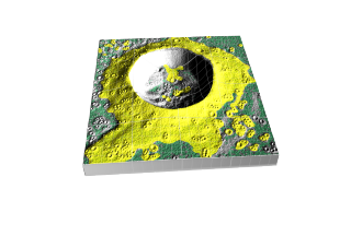 One of Diviner's derived products will be detection of small rock hazards. Since small rocks warm and cool slower than the surrounding regolith, Diviner's temperature data over time can reveal potential small rock hazards. This is an artist's rendition of the sort of small rock hazards that might be found around a lunar crater. Small rock hazards are shown in yellow.