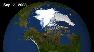 Arctic sea ice still for September 7, 2008