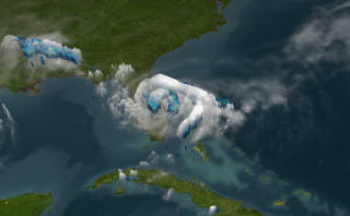 Tropical Storm Fay stalled over Eastern Florida dumping over 24 inches of rain. The blue region represents areas where the storm is dumping at least 0.25 inches of rain per hour and the green region is raining 0.5 inches of inches per hour.
