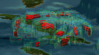 This image shows the rain structure of the hurricane at this time. Rain is the fuel that powers the storm. The blue region represents areas where the storm is dumping at least 0.25 inches of rain per hour. Green is 0.5 inches of rain per hour, yellow is 1.0 inches of rain and red is 1.5 inches of rain per hour.