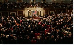 President George W. Bush receives a standing ovation during his 2008 State of the Union address Monday, Jan. 28, 2008, at the U.S. Capitol. White House photo by Joyce N. Boghosian
