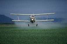 Fotografía de un avión fumigando insecticida sobre parcelas de cultivos