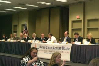 Photo of Board members at town meeting