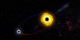 This animation shows two black holes orbiting each other, producing gravity waves.