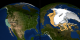 This animation shows a two zooms on a split screen: one to the United States and the other to the Arctic.  The Arctic shows the 2005 sea ice minimum extent and fades to show the 2007 minimum extent.  The state of California is placed in the melt region as a comparison of the area of the region.