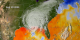 Sea surface temperature showing Hurricane Katrina's cold water wake in blues (08-29-2005)
