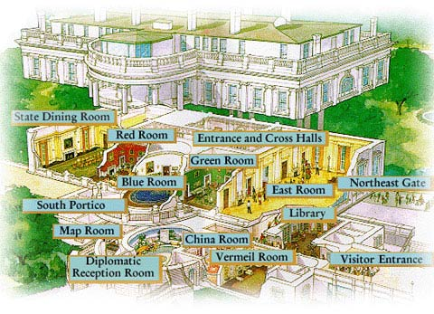 Image map showing the floorplan of the rooms on the White House tour