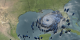 Hurricane Rita threatens the gulf coast.  Blue under the clouds represents the energy of the storm, its rain.
