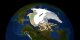 This animation shows a comparison between the 2005 and 2007 minimum sea ice extent.  The state of California, shown in green, is compared to the area of melted region.